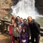 girls at cascade, group