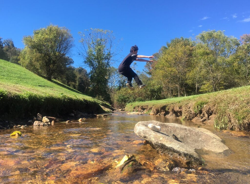 manuel jump over creek